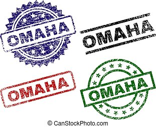 Damaged Textured OMAHA Seal Stamps - OMAHA seal prints with...