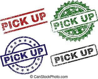 Damaged Textured PICK UP Stamp Seals - PICK UP seal prints...