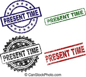 Damaged Textured PRESENT TIME Seal Stamps