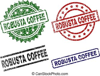 Damaged Textured ROBUSTA COFFEE Seal Stamps - ROBUSTA COFFEE...