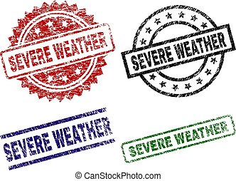 Damaged Textured SEVERE WEATHER Seal Stamps - SEVERE WEATHER...