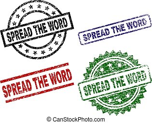 Damaged Textured SPREAD THE WORD Seal Stamps - SPREAD THE...
