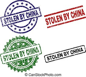 Damaged Textured STOLEN BY CHINA Seal Stamps