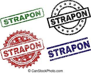 Damaged Textured STRAPON Seal Stamps - STRAPON seal prints...