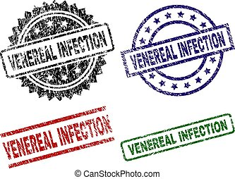 VENEREAL INFECTION seal imprints with damaged texture. Black, green, red, blue vector rubber prints of VENEREAL INFECTION title with dust texture. Rubber seals with circle, rectangle, medal shapes.