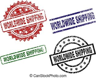 Damaged Textured WORLDWIDE SHIPPING Stamp Seals