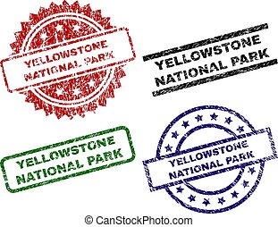 Damaged Textured YELLOWSTONE NATIONAL PARK Seal Stamps -...