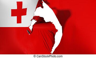 Damaged Tonga flag, white background, 3d rendering