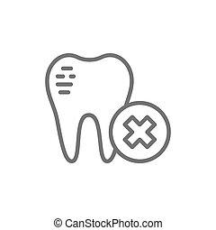 Damaged tooth enamel, dental broken line icon.