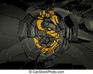Damaged US dollar symbol over black glass