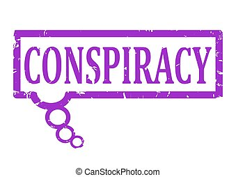 Damaged violet rubber stamp with the word conspiracy