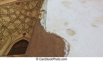 Damaged Wall and Dome Ceiling 2 - Handheld, panning,...