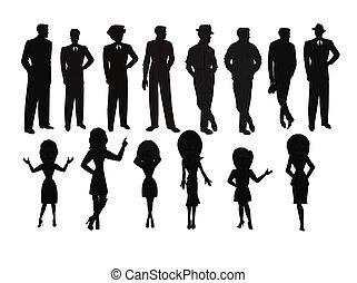 damas, hombres, silueta, conjunto