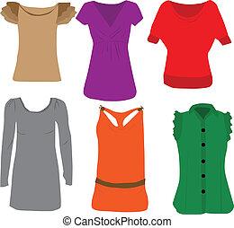 damas, moda, -, blusas