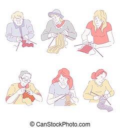 damas, ocupado, tejido de punto, gente, trabajo, creativo, pasatiempo
