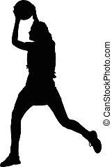 damas, pelota, silueta, lanzamiento, niñas, netball, jugador...