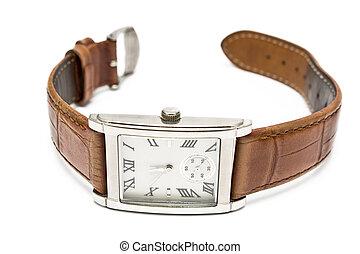 damas, reloj de pulsera, cuadrado