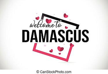 damasco, benvenuto, a, parola, testo, con, scritto mano,...
