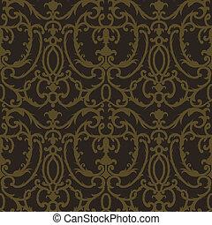 damasco, cardo, floral, seamless, padrão