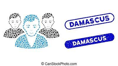 damasco, collage, ellisse, utente, gruppo, textured, sigilli