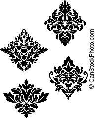 damasco, flor, patrones