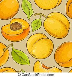 damasco, fruta, vetorial, padrão