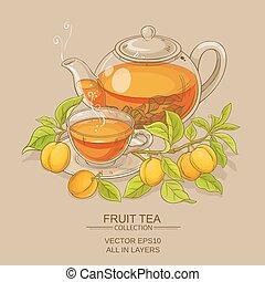 damasco, ilustração, chá