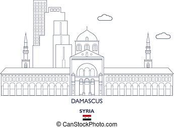 damasco, orizzonte, città, siria
