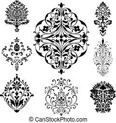 damasco, ornamentos
