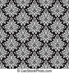 damasco, pattern., seamless, vendemmia, fondo., vettore