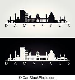 damasco, siluetta skyline, limiti