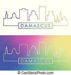 damasco, skyline., colorito, lineare, style.