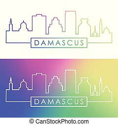 damasco, skyline., style., colorito, lineare
