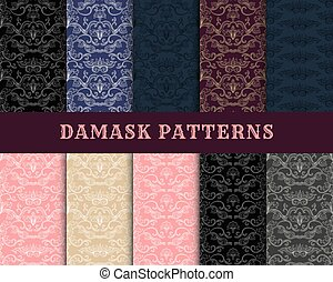 damasco, vector, vendimia, seamless, patrón, colección