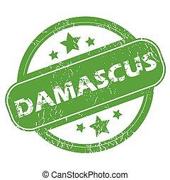 damasco, verde, francobollo