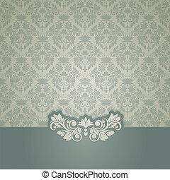 damasco, vindima, seamless, elegante, fundo, cartão, (background