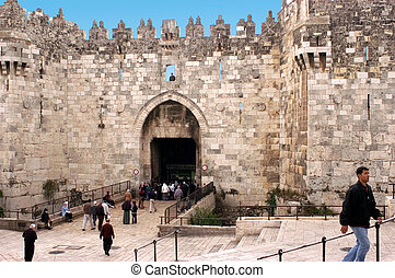 Damascus Gate in Jerusalem Old City, Israel - JERUSALEM -...