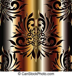 Damask 3d vector seamless pattern. Silk drapery floral backgroun