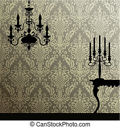 Damask and interior - Damask seamless pattern and interior...