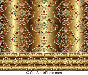 Damask Baroque gold 3d seamless pattern and border.