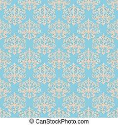 Damask blue seamless pattern.