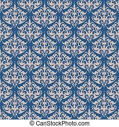 Damask blue seamless pattern. Navy color design.