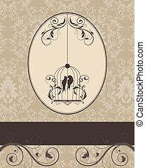 brown vintage invitation card with birdcage