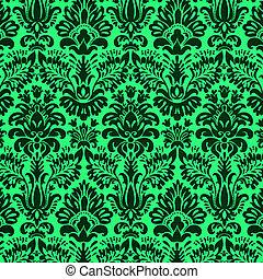 damask design on green