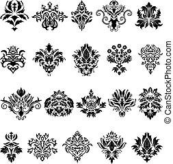 damask, emblem, sæt