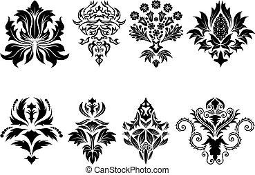 damask emblem set - Abstract damask emblem set for design...