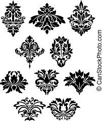 Damask floral elements with curly flower details