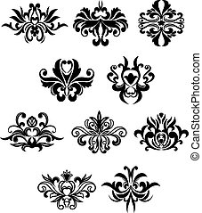 Damask flourish black design elements
