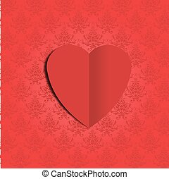 DAMASK HEART ON RED