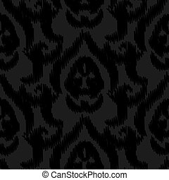 Damask ikat black elegant seamless vector wallpaper pattern.